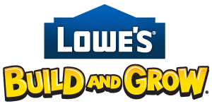 lowes build and grow logo Free Mystery Build Kit at Lowes