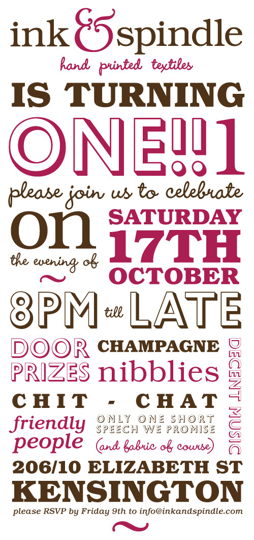 Ink & Spindle first birthday invite :)