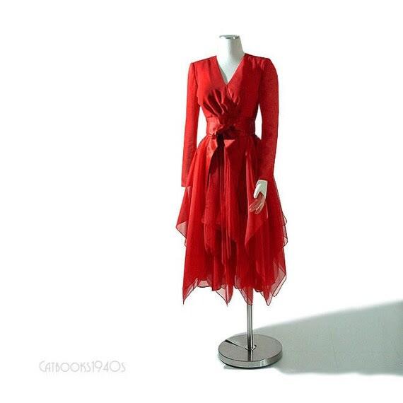 Vintage LUIS ESTEVEZ Flame Red Silk Dress - Dramatic Handkerchief Scarf Skirt XS