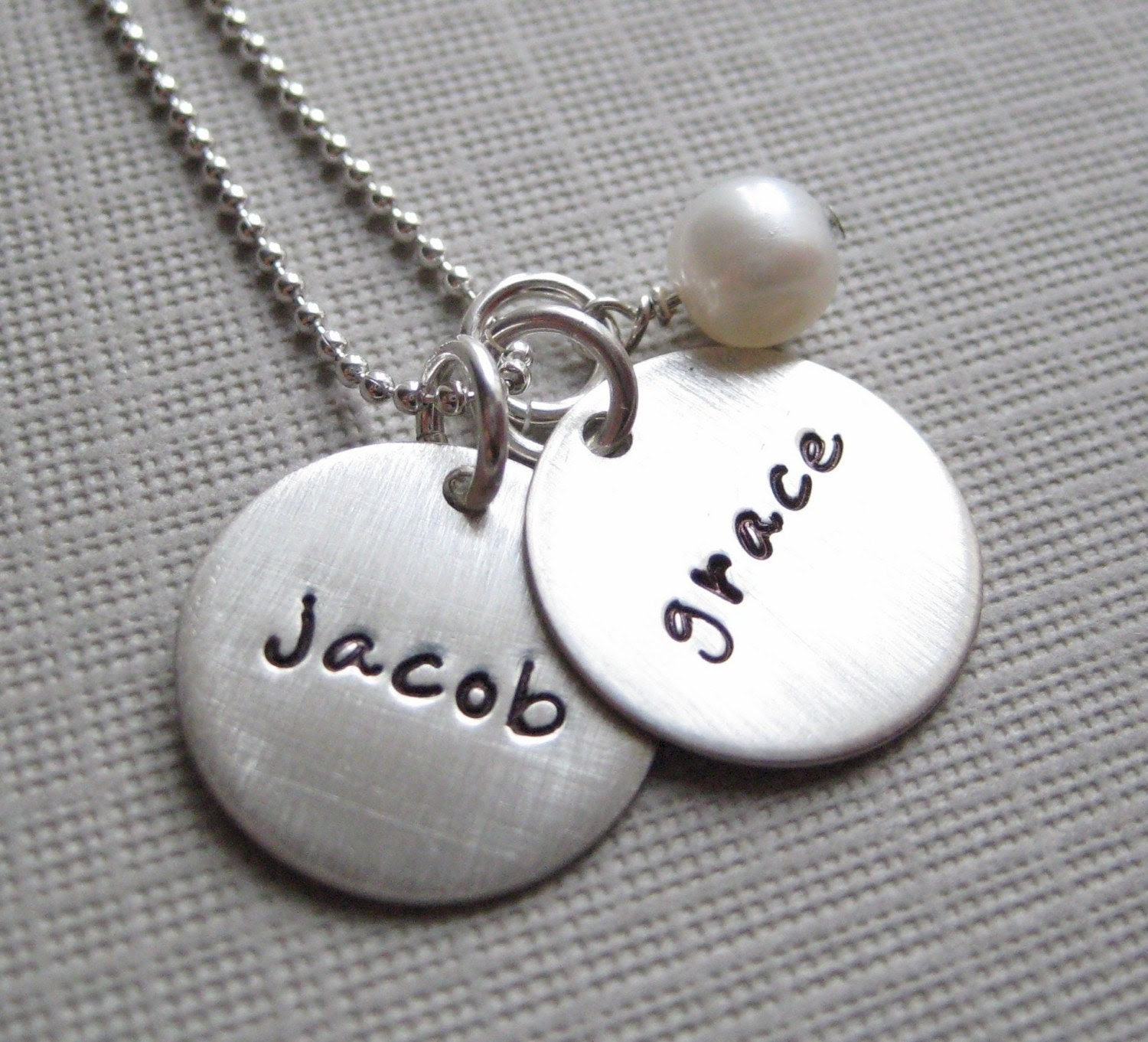 Hand stamped Mommy Necklace- TWO NAME Charm - personalized sterling silver / Keepsake necklace with a Freshwater pearl