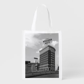 Western Auto Half Cylinder Building Reusable Grocery Bags