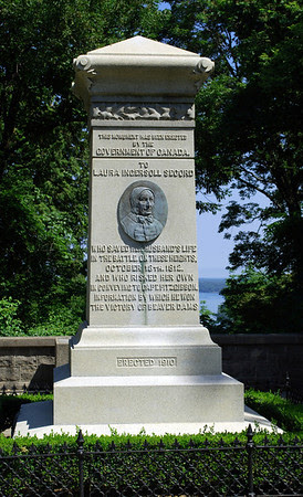 Monument at Queenston Heights to Laura Ingersoll Secord, a Canadian heroine of the War of 1812 who is known for warning British forces of an impending American attack that led to the British victory at the Battle of Beaver Dams on June 24th, 1813.