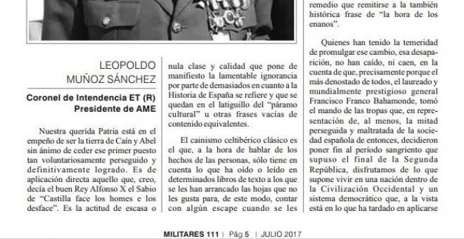 Carta del presidente de la AME y director de la revista 'Militares' en la que ensalza al 'laureado y mundialmente prestigioso general Francisco Franco Bahamonde' y justifica el golpe de Estado del 18 de julio. Fue publicada en el último número de la revis