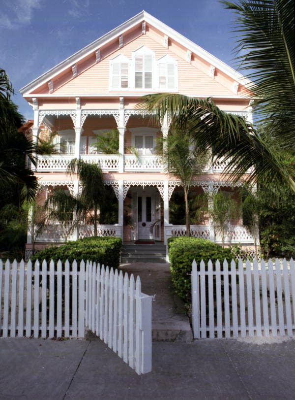 Victorian style conch house on Elizabeth Street, Key West, Florida.