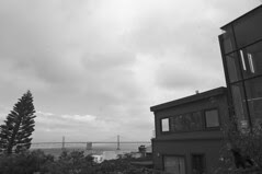 Coit Tower - View of the Bay Bridge from Filbert