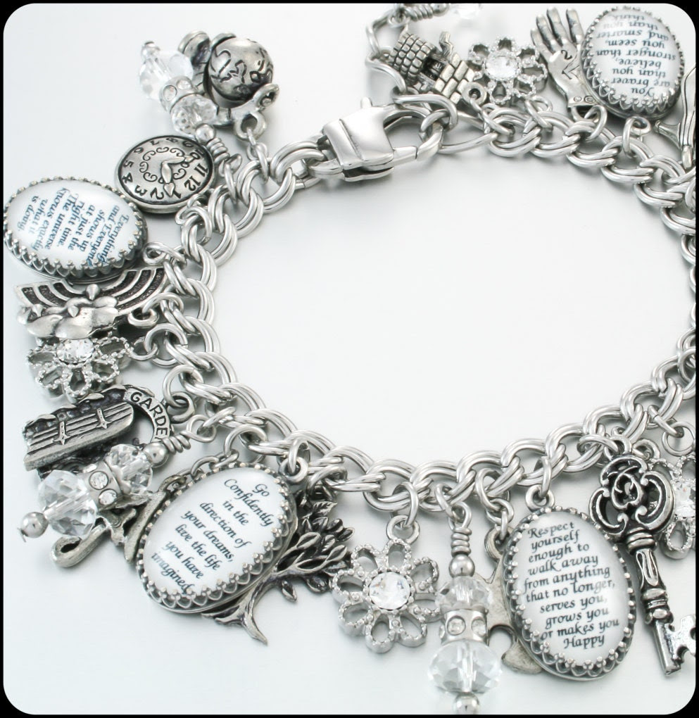 Silver Charm Bracelet Inspirational Quotes by