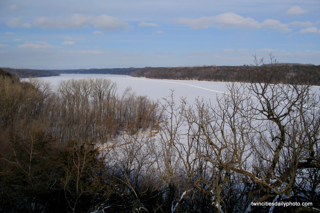 A view of the St Croix River, frozen over today from the cold and frigged temperatures.