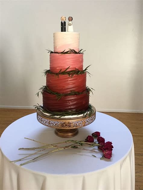 A gorgeous 4 tiered burgundy ombré #cake!   Wedding Cakes
