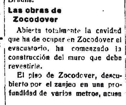 28-1-1926 El Castellano anuncia el comienzo  de las obras de los urinarios de Zocodover