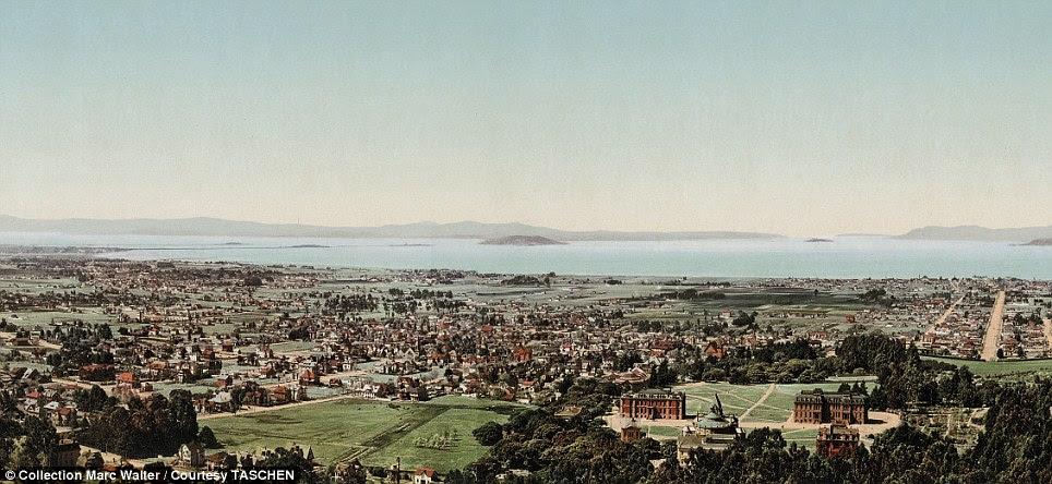 Ouro cidade da corrida: Um panorama glorioso mostra a cidade californiana de San Francisco, quando ainda era um pequeno assentamento
