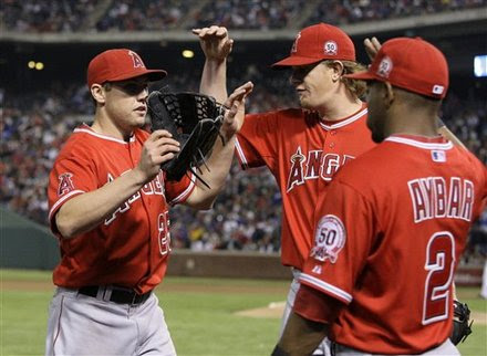 Los Angeles Angels Center Fielder Peter Bourjos, Left, Is