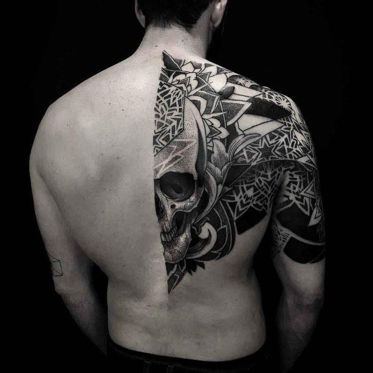 Dotwork Skull Half Back Tattoo Best Tattoo Ideas Gallery