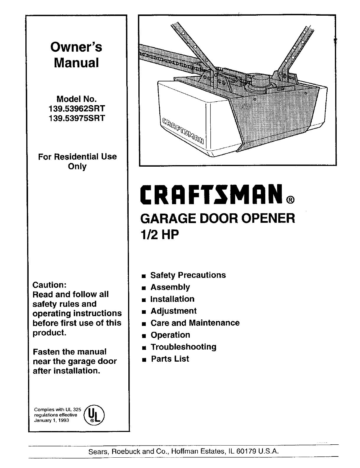 wiring diagram sear garage door opener