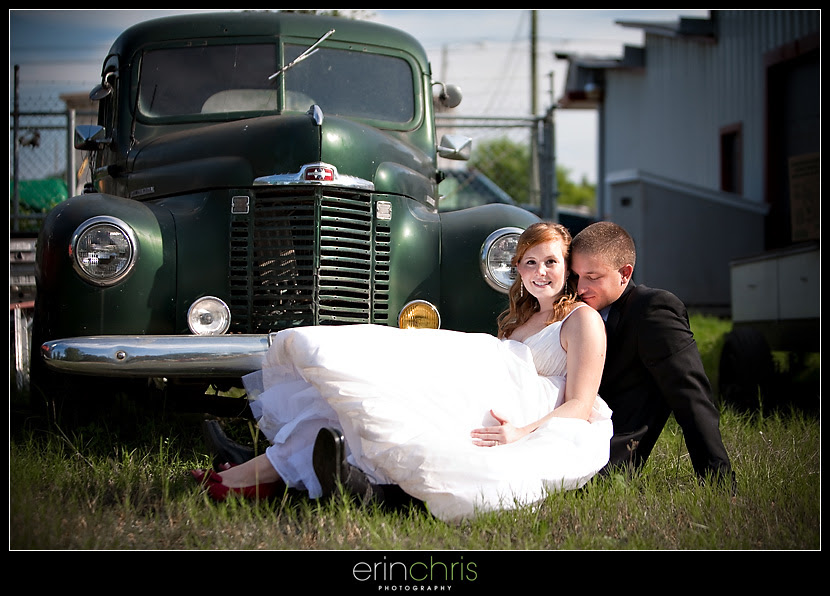 Bride and Groom picture with Antique car