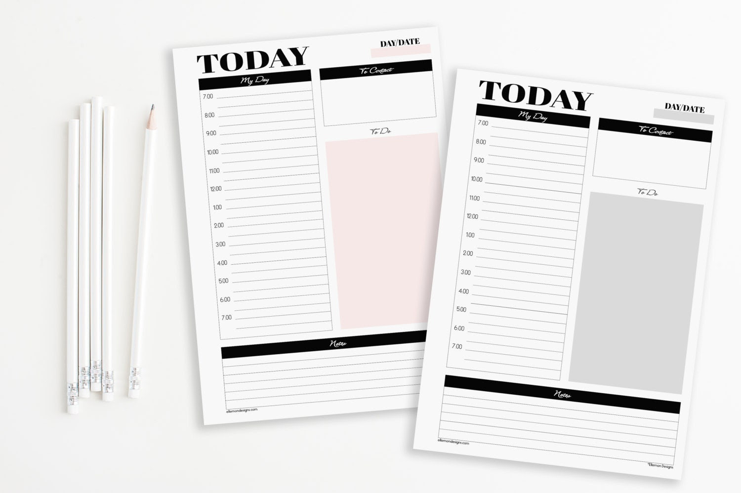 Two A5 Daily Planners Printable Inserts Refills by EllemonDesigns