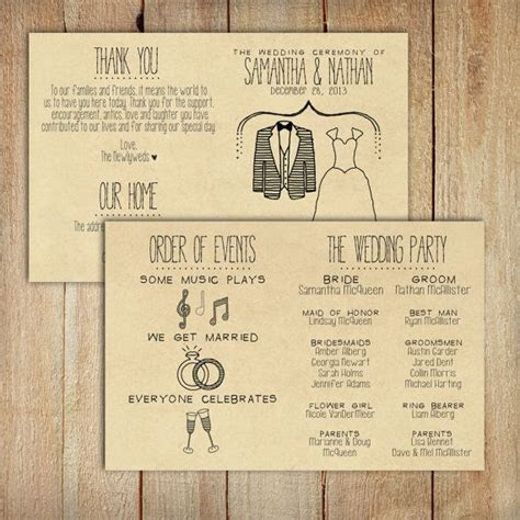 Wedding Program   Printable, Custom   DIY Wedding   RUSTIC