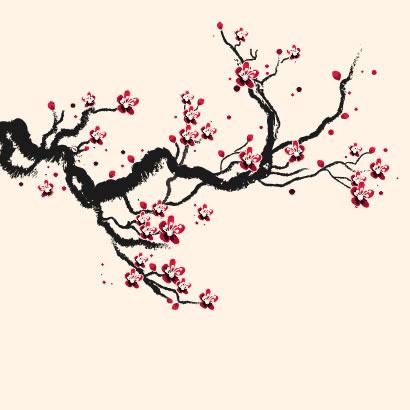 桜の枝イラスト手描き風aieps ベクタークラブイラストレーター素材