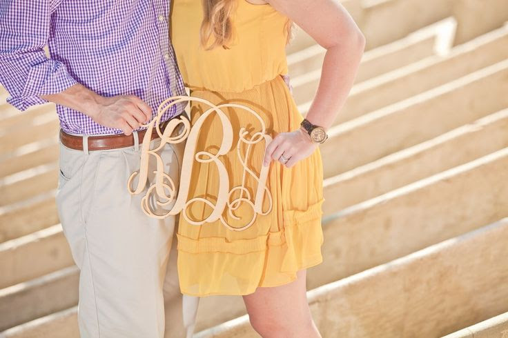 Wooden Monogram Used in Engagement Photo. So Adorable.
