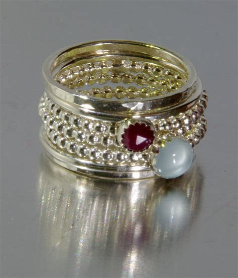 Aquamarine & Ruby Stacking Mothers rings, Personalized