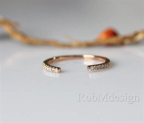 14K Rose Gold Band Half Eternity Pave Diamonds Wedding