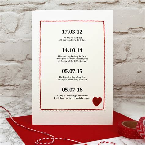 special dates personalised anniversary card by jenny