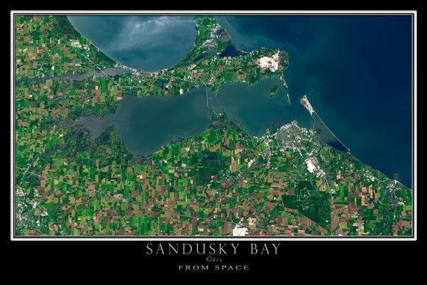 Sandusky Bay Ohio Satellite Poster Map Free Shipping