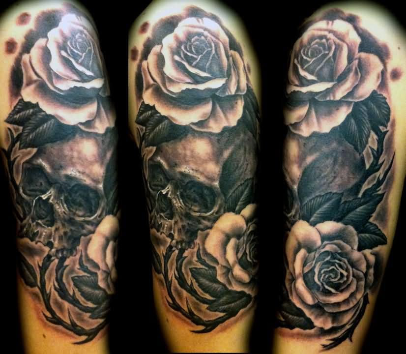 Black And White Rose Flowers With Skull Sleeve Tattoo