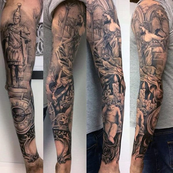 75 Religious Sleeve Tattoos For Men Divine Spirit Designs