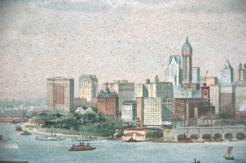 Detail, Downtown Manhattan, New York Dock Company lithograph, Circa 1911