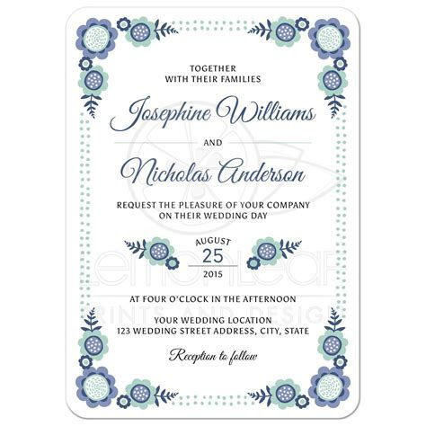 Blue bloom wedding invitation with cute, whimsical flower
