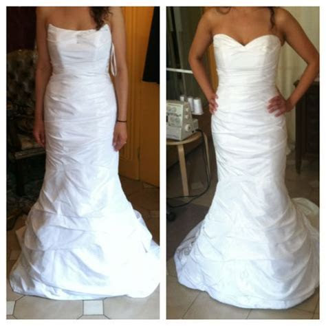 Fitted wedding gown, bust through waist and hips, hemmed