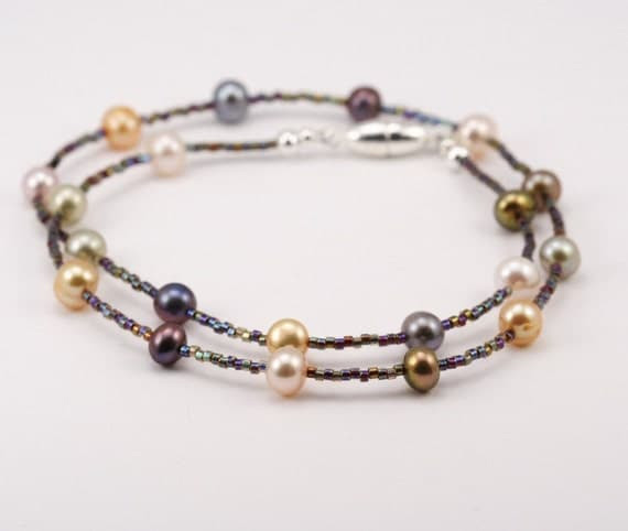 Shipping Included - Delicate Multi-colored Freshwater Pearl Necklace