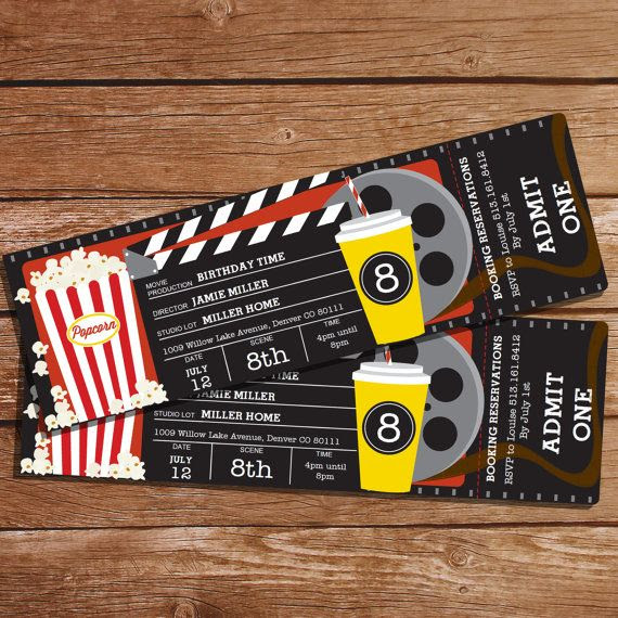 Movie Party Invitation - Movie Ticket Invitation - Instant ...