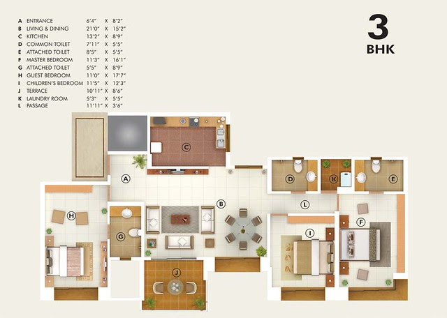 Pudumjee G:Corp Developers' Greens - 3 BHK Flat - 1199 Carpet + 90 Terrace - Rs. 82.66 to 86.60 Lakhs