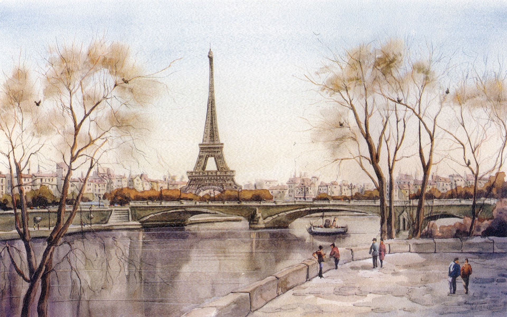 1920x1200 paris landscape drawing wallpaper france drawing bridge eiffel