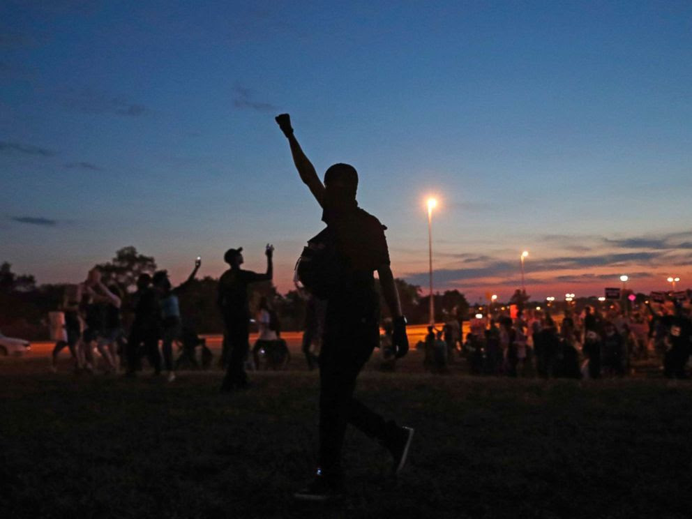 P   HOTO: Protesters march in St. Louis, after a judge found a white former St. Louis police officer, Jason Stockley, not guilty of first-degree murder in the death of a black man, Anthony Lamar Smith, Sept. 15, 2017.