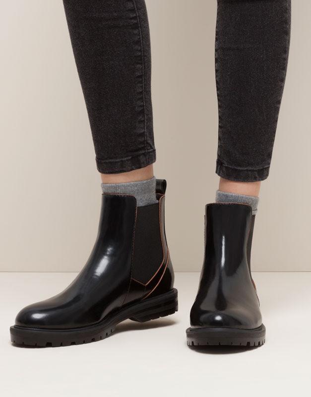 Pull&Bear - mujer - zapatos mujer - botín contraste - negro - 15180011-I2015