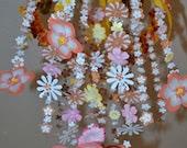 Sunny Daze Hanging Flowers Mobile (Orange Yellow Pink) Nursery Decor Baby Shower Gift READY TO SHIP