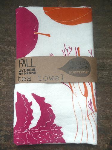Fall tea towel folded