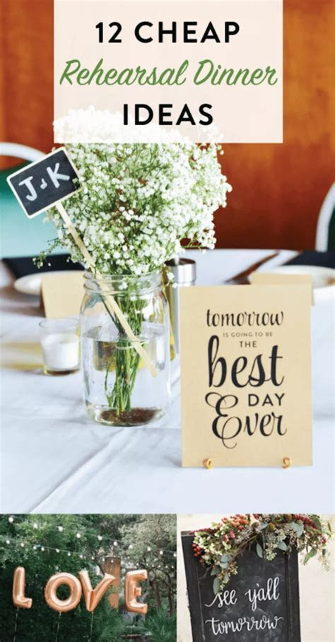 12 Cheap Rehearsal Dinner Ideas   Idea plans, Rehearsal