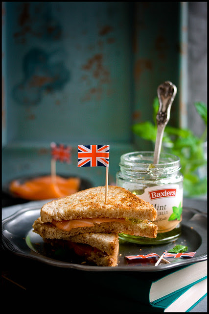 Golden Salmon Sandwiches with Mint Jelly