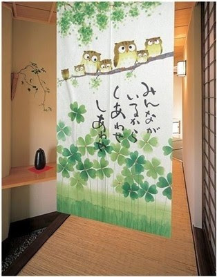 Clover And Owls Family Japanese Noren Door Curtain - contemporary ...