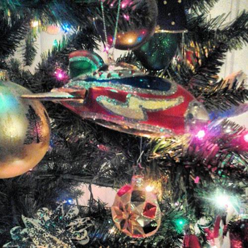 Retro rocket ornament