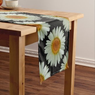 Modern Summer White Daisy Pattern on Black Short Table Runner