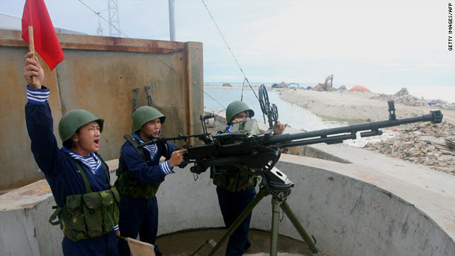 Picture by the Vietnam News Agency showing live fire drills June 14 on Phan Vinh Island in the disputed Spratly Island chain.
