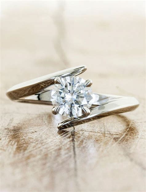Kylie: Modern Asymmetrical Band Diamond Engagement Ring