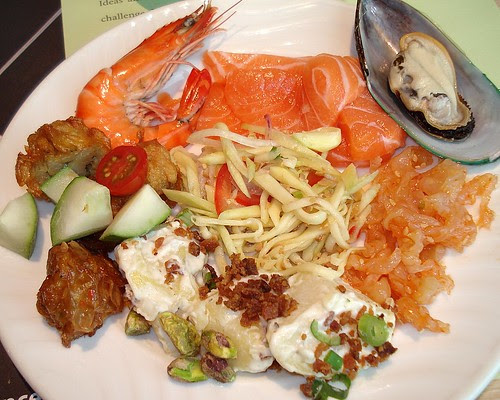 Cold platter - prawns, salmon, mussels, jellyfish, potato salad and ngoh hiang
