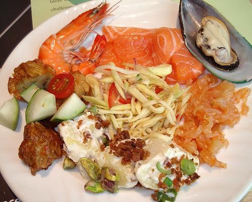 Cold platter - prawns, salmon, mussels, jellyfish, potato salad and ngoh hiang