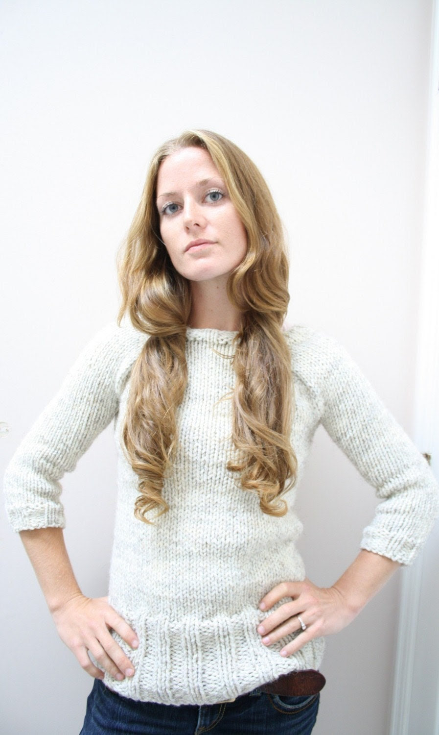 OATMEAL PULLOVER // top down chunky sweater knitting pattern PDF - janerichmond