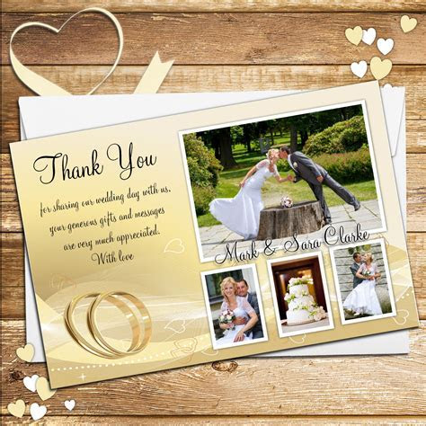 10 Personalised Gold rings Wedding Day Thank you Photo